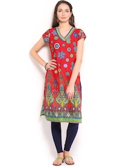 BIBA Women Red Printed Kurta