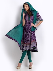BIBA Women Purple & Green Printed Salwar Suit