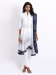 BIBA Women White Embroidered Churidar Kurta with Dupatta