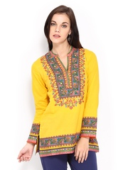 BIBA Women Yellow Printed Kurti