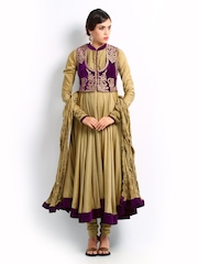 BIBA by Rohit Bal Women Beige Anarkali Churidar Kurta Set