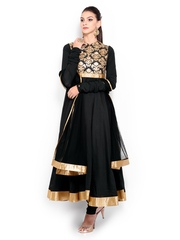 BIBA by Rohit Bal Women Black Cotton Silk Anarkali Churidar Kurta with Dupatta