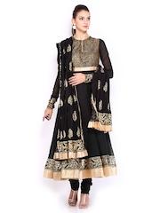 BIBA by Rohit Bal Women Black Cotton Silk Anarkali Churidar Kurta with Dupatta