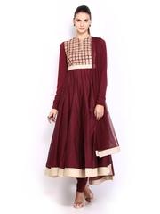 BIBA by Rohit Bal Women Maroon Cotton Silk Anarkali Churidar Kurta with Dupatta