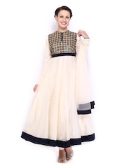 BIBA by Rohit Bal Women Off-White Cotton Silk Anarkali Churidar Kurta with Dupatta