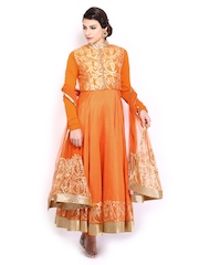 BIBA by Rohit Bal Women Orange Cotton Silk Anarkali Churidar Kurta with Dupatta