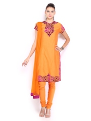 By Rohit Bal Women Orange Poly Cotton Churidar Kurta With Dupatta Biba