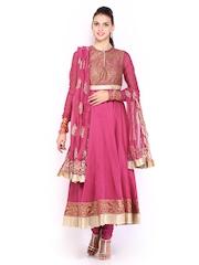 BIBA by Rohit Bal Women Pink Cotton Silk Churidar Kurta with Dupatta