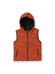 Boys Rust Orange Sleeveless Hooded Jacket Baby League