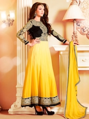 Bansi Yellow & Black Embroidered Georgette Unstitched Dress Material
