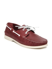 Basics 029 Men Red Leather Boat Shoes