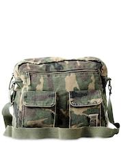 Basics Men Green Camouflage Printed Bag