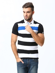 Men Black & White Striped Muscle Fit Polo T-Shirt Basics