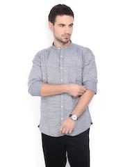 Men Black & White Slim Fit Linen Blend Casual Shirt Basics