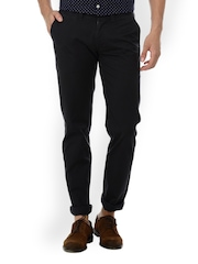Basics Men Black Tapered Fit Chino Trousers