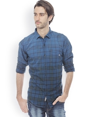 Basics Men Blue & Black Slim Fit Checked Casual Shirt