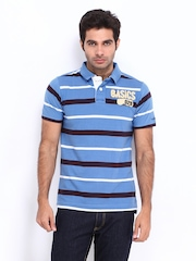 Basics Men Blue & Brown Striped T-shirt