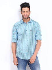 Basics Men Blue & White Checked Slim Fit Casual Shirt
