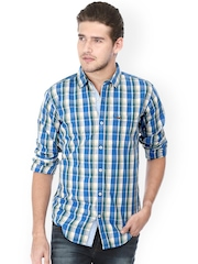 Basics Men Blue & White Checked Slim Fit Casual Shirt