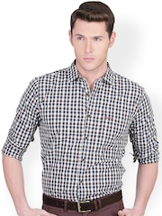 Men Brown & White Checked Slim Fit Smart Casual Shirt Basics