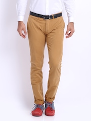 Basics Men Mustard Brown Tapered Fit Chino Trousers