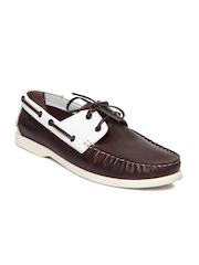 Basics 029 Men Brown Leather Boat Shoes