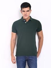 Basics Men Dark Green Polo T-shirt