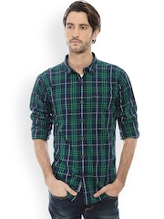 Basics Men Green & Navy Slim Fit Checked Casual Shirt