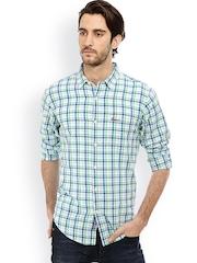 Men Green & White Slim Fit Checked Casual Shirt Basics