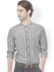 Basics Men Grey & White Slim Fit Striped Smart Casual Shirt