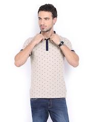 Basics Men Light Brown Printed Pique Polo T-shirt