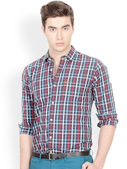 Basics Men Multicoloured Slim Fit Checked Smart Casual Shirt