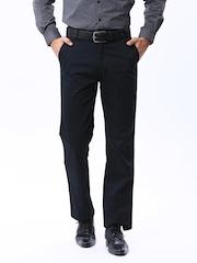 Basics Men Navy Comfort Fit Formal Trousers