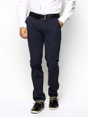 Basics Men Navy Tapered Fit Casual Trousers