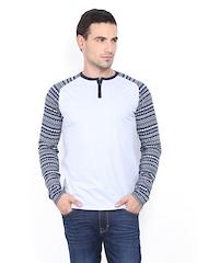 Men Off-White & Navy Henley T-shirt Basics