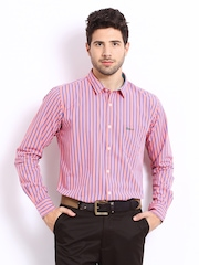 Basics Men Pink & Blue Striped Slim Fit Smart-Casual Shirt