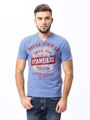 Basics Men Purple Printed T-shirt