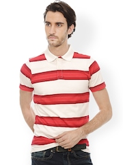 Basics Men Red & White Muscle Fit Striped Polo T-shirt