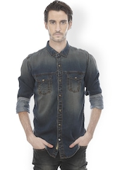 Basics Men Navy Slim Fit Denim Casual Shirt