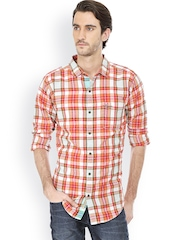 Men Orange & White Slim Fit Checked Casual Shirt Basics