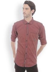 Basics Men Orange & Blue Slim Fit Houndstooth Checked Casual Shirt