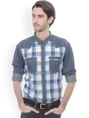 Basics Men Blue Slim Fit Checked Casual Shirt