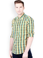 Basics Men Yellow Slim Fit Checked Casual Shirt