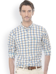 Men Orange & White Slim Fit Checked Smart Casual Shirt Basics