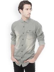 Basics Men Grey Slim Fit Casual Shirt