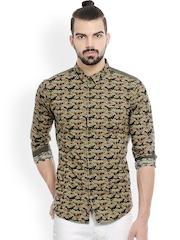 Basics Men Green Slim Fit Printed Casual Shirt