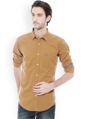 Basics Men Brown Slim Fit Casual Shirt
