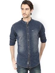 Basics Men Navy Slim Fit Denim Casual Shirt