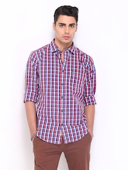 Basics Men White & Red Checked Slim Fit Casual Shirt