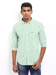 Basics Men Green & White Checked Slim Fit Casual Shirt